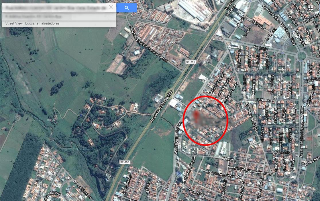 Ubicación de los testigos en el momento del avistamiento: Avaré, São Paulo (Brasil). (Clic para agrandar).