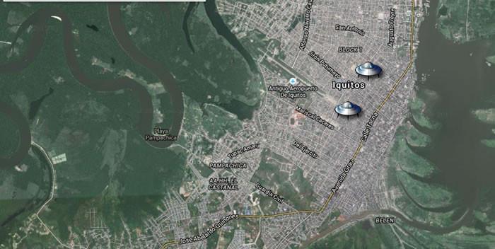 Reporte de flotillas de luces desconocidas sobre Iquitos, Perú.