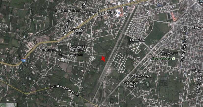 Punto inicial del avistamiento ocurrido. Ciudad de Ibarra, Parque Ciudad Blanca.
