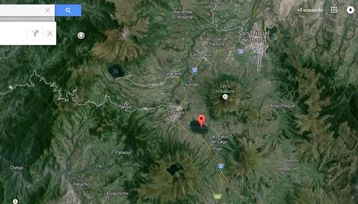 Ubicación aproximada de avistamiento OVNI. El objeto iba con dirección al Lago San Pablo.