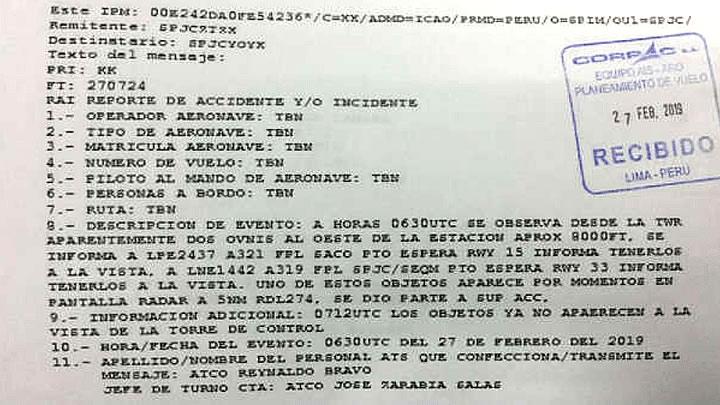 Reporte oficial de Corpac informa que dos OVNIs fueron vistos cerca del aeropuerto Jorge Chávez el 27 de febrero